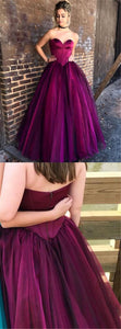 Sweetheart Long A-line Tulle Purple Prom Dresses