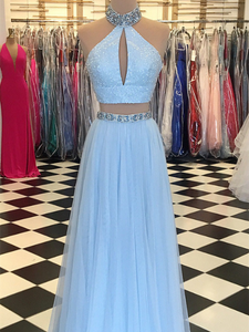 2 Pieces A-line Light Blue Sequin Beaded Prom Dresses, Cheap Prom Dresses