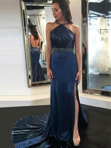Long Sheath Navy Beaded Side Slit Prom Dresses