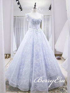 Cap Sleeves Long A-line Lace Tulle Prom Dresses, Gorgeous Lace Ball Gown, Affordable Prom Dresses
