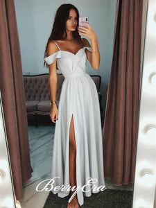 Off Shoulder Long A-line Light Grey Side Slit Prom Dresses