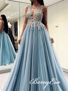 Dusty Blue Lace Tulle Prom Dresses, Open Back Prom Dresses, Long Prom Dresses