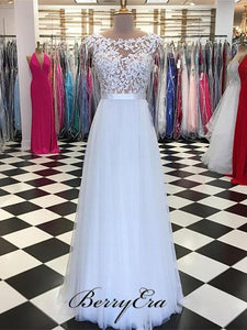 Cap Sleeve Long A-line Lace Tulle Prom Dresses, Elegant Prom Dresses, Prom Dresses