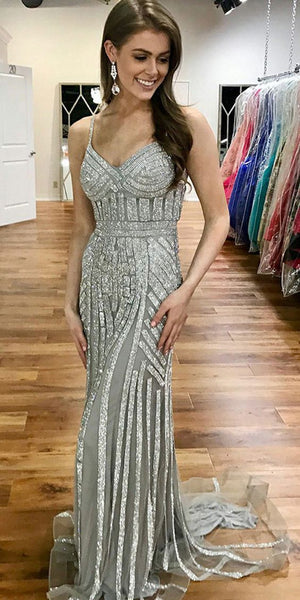 Straps Long Mermaid Silver Beaded Tulle Prom Dresses