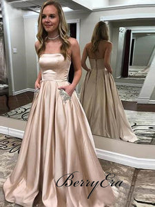 Strapless Nude Satin A-line Prom Dresses With Pockets, Beaded Long Prom Dresses