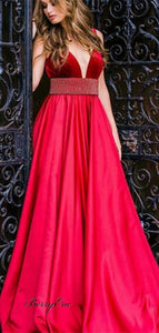 V-Neck Red Velvet Top Beaded Long Satin Prom Dresses Cheap Prom Dresses
