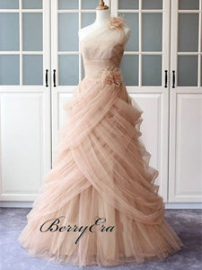 One Shoulder Long A-line Pale Pink Tulle Prom Dresses, Elegant Prom Dresses