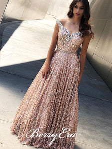 Off Shoulder Gliter Sequin Prom Dresses, A-line Rhinestone Prom Dresses, Long Prom Dresses