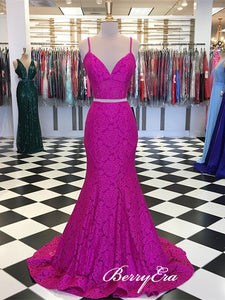 2 Pieces Hot Pink Long Lace Prom Dresses, Mermaid Prom Dresses, Beaded Prom Dresses