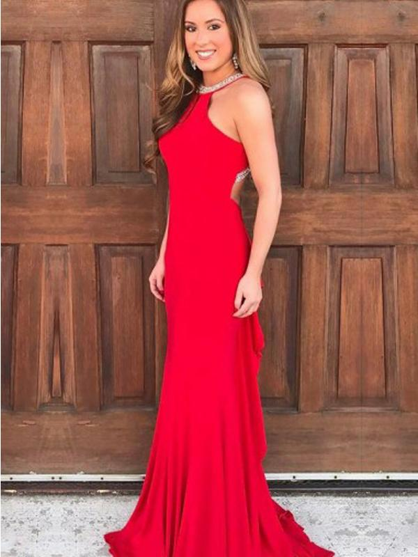 Simple Long Mermaid Red Jersey Beaded Prom Dresses, Cheap Prom Dresses
