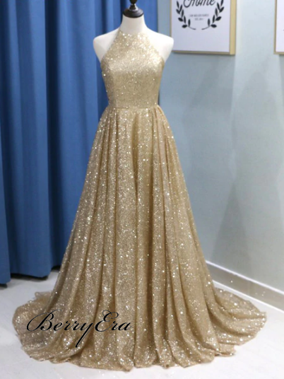 Shiny Long A-line Elegant Prom Dresses, Affordable Prom Dresses