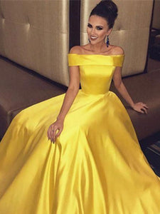 c3770ca40111 Off Shoulder Long A-line Yellow Satin Prom Dresses