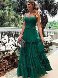 Spaghetti Long A-line Green Chiffon Prom Dresses, Evening Dresses