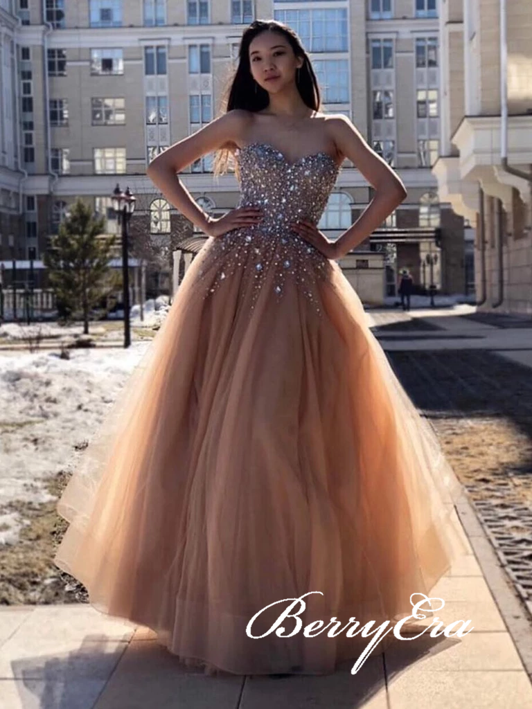 Sweetheart Rhinestone Beaded Long A-line Tulle Prom Dresses, Lovely Long Prom Dresses