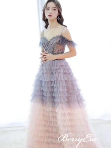 Off Shoulder Long A-line Gradient Tulle Prom Dresses, Beaded Long 2020 Prom Dresses, Prom Dresses
