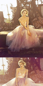 Light Pink Sweetheart Long A-line Tulle Prom Dresses