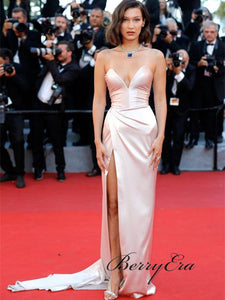Bella Hadid Long Sheath High Side Slit Celebrity Dresses, Long Prom Dresses, Prom Dresses