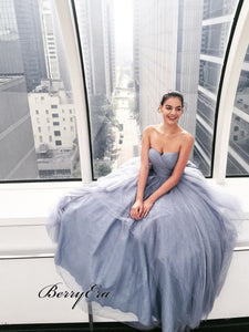 Sweetheart Long A-Line Grey Tulle Prom Dresses Cheap Prom Dresses