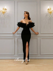 Off Shoulder Long Mermaid Prom Dresses, Black Prom Dresses, Newest Prom Dresses