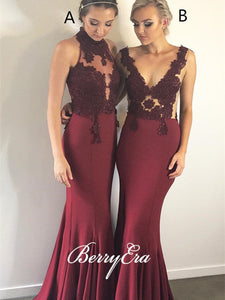 Maroon Jersey Mermaid Lace Long Prom Dresses, Newest Prom Dresses