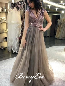 V-neck Seqauin Top Tulle Prom Dresses, Bridesmaid Dresses, Long Prom Dresses