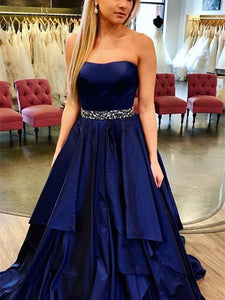 Strapless Navy Satin Beaded Prom Dresses, Long Prom Dresses, Affordable Prom Dresses
