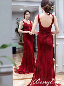V-neck Red Beaded Long Mermaid Prom Dresses, Long Prom Dresses, Mermaid Prom Dresses