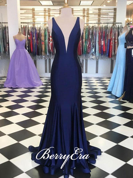 V-neck Navy Mermaid Long Elastic Satin Prom Dresses