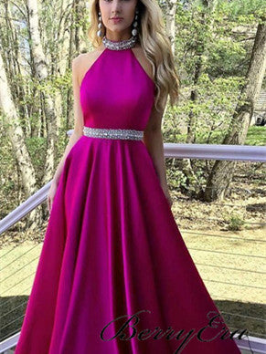 Halter Long A-line Hot Pink Satin Beaded Prom Dresses, Popular Prom Dresses