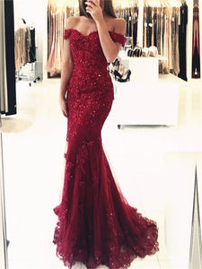 Off Shoulder Long Mermaid Lace Beaded Prom Dresses