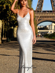 Silver Cross Back Long Mermaid Sequin Prom Dresses