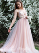 Spaghetti Pink Tulle Prom Dresses, Appliques Prom Dresses, Romantic Long Prom Dresses, Cheap Prom Dresses