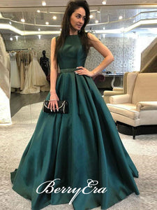 Emerald Green Satin Beaded Prom Dresses, V-back Prom Dresses, Long Prom Dresses