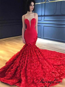 Spaghetti Red Mermaid 3D Floral Prom Dresses, Long Prom Dresses, Gorgeous Prom Dresses