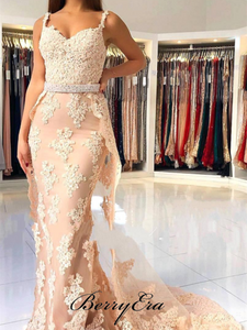 Strap Lace Mermaid Beaded Waist Prom Dresses, Popular Prom Dresses