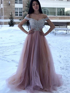 Off Shoulder Lace Top Tulle Prom Dresses, Affordable Prom Dresses, Long Prom Dresses