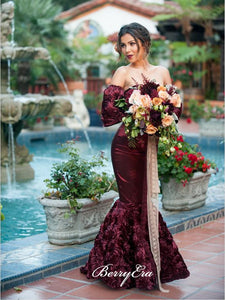 Off Shoulder Long Sleeves Elastic Satin Floral Dresses, Long Prom Dresses, Prom Dresses