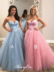 Sweetheart Long A-line Tulle Prom Dresses, Elegant Princess Ball Gown, Prom Dresses
