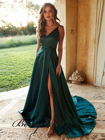 V-neck A-line Side Slit Teal Soft Satin Prom Dresses, Long Prom Dresses