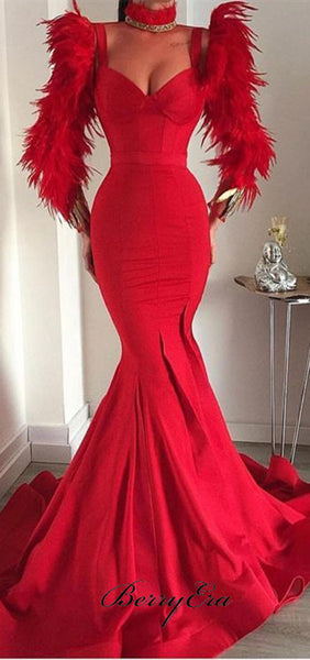 Straps Long Mermaid Red Prom Dresses, Luxury Feather Prom Dresses, Prom Dresses