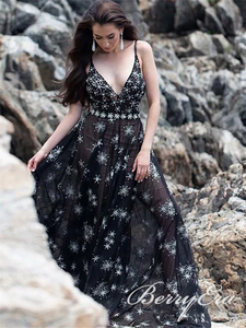 V-neck Long A-line Black Firework Chiffon Prom Dresses, Chic Prom Dresses, Long Prom Dresses