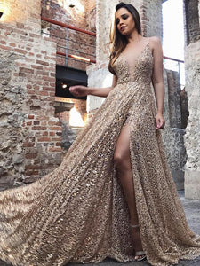 Spaghetti Long A-line Side Slit Lace Prom Dresses, Newest Prom Dresses, Prom Dresses