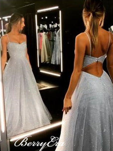 Grey Glitter Long A-line Prom Dresses, Formal Dresses