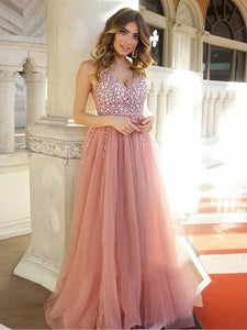 V-neck Dusty Pink Rhinestone Tulle Prom Dresses, Cheap Prom Dresses