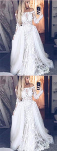 Off Shoulder Long Sleeves Tulle Lace Prom Dresses