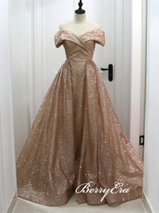 Off Shoulder Long A-line Rose Gold Sequin Prom Dresses, Shiny Prom Dresses