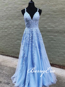 Spaghetti Long A-line Light Blue Lace Prom Dresses, Long Prom Dresses, 2020 Prom Dresses
