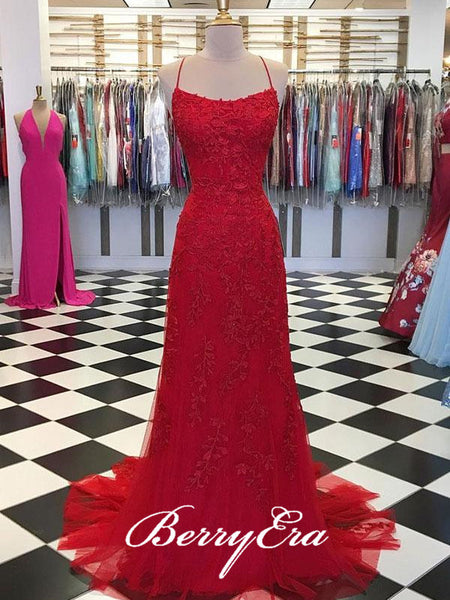 Cross Back Red Lace Long Prom Dresses, Popular Prom Dresses