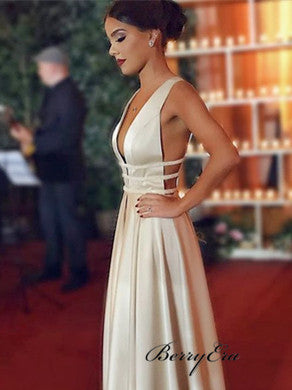 Deep V-neck Long A-line Satin Prom Dresses, Simple Design Prom Dresses, Prom Dresses