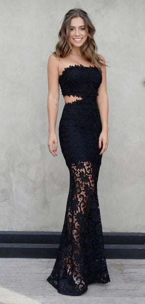 Strapless Mermaid Floor Length Sexy Prom Dress with Black Lace Appliques